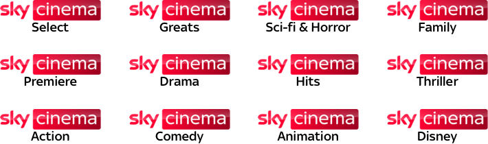 Sky Cinema Select, Sci Fi & Horror, Premiere, Hits, Action, Thriller, Greats, Family, Drama, Comedy, and Disney