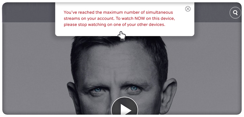 You've reached the maximum number of simultaneous streams on your account