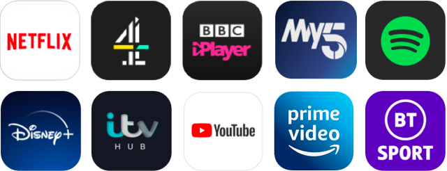 Some of the apps available on the NOW Box and Smart Stick, including Netflix, YouTube and BBC iPlayer