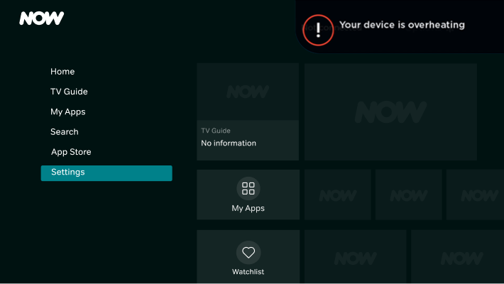 Overheating error message for NOW Smart Stick