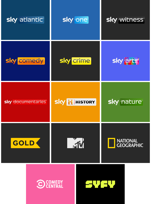 Enjoy these live channels with your Entertainment Membership: Sky 1, Fox, Gold, Sky Atlantic, Sky Comedy, Sky Crime, Sky Documentaries, Sky History, Sky Nature, Comedy Central, Discovery Channel, MTV, Sky Arts, Sky Witness, SyFy and Nat Geo