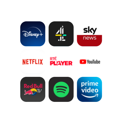 Some of the apps on the NOW Smart Stick, including Disney+, Netflix and YouTube