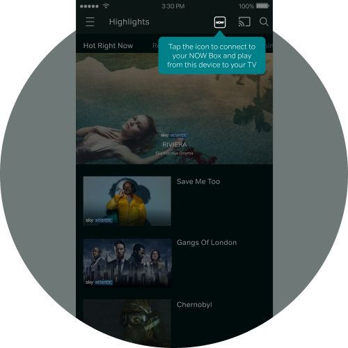 Tap the NOW TV Box icon