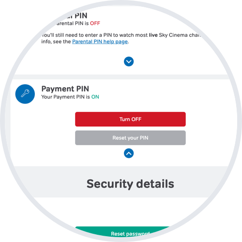 Payment PIN turned ON