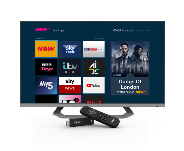 Some of the apps available on the NOW TV Stick and Box