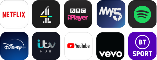 Some of the apps available on the NOW TV Box and Smart Stick, including Netflix, YouTube and BBC iPlayer