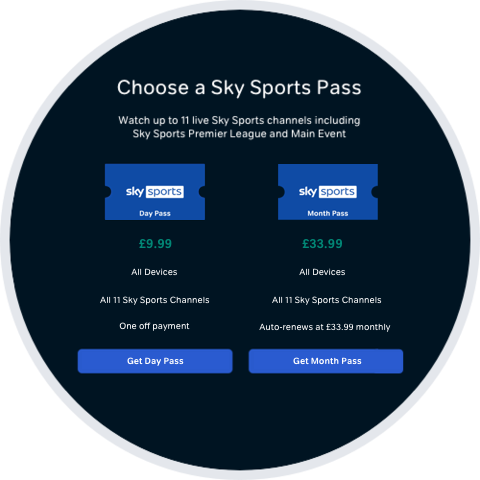 Pick the Sports Pass you want