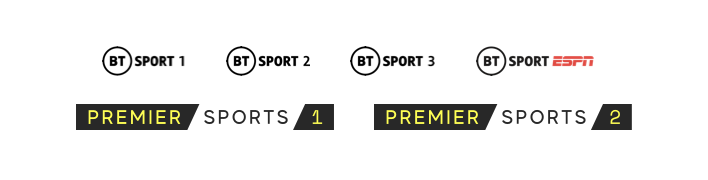 BT Sport 1, 2, 3 and ESPN, and Premier Sports 1 and 2.