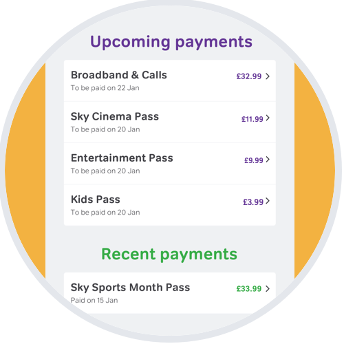 Upcoming & recent payments