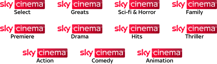 Sky Cinema Select, Sci Fi & Horror, Premiere, Hits, Action, Thriller, Greats, Family, Drama, Comedy and Animation